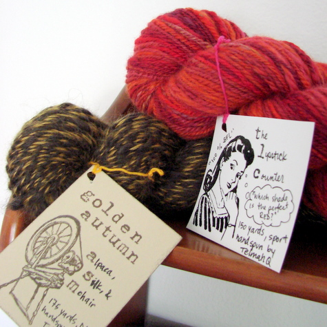 hand-stamped tags for handspun yarn