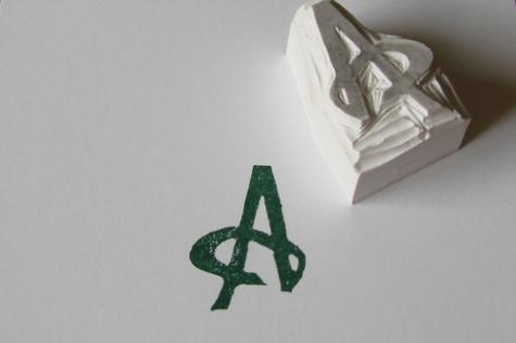 letter A monogram, hand-carved stamp